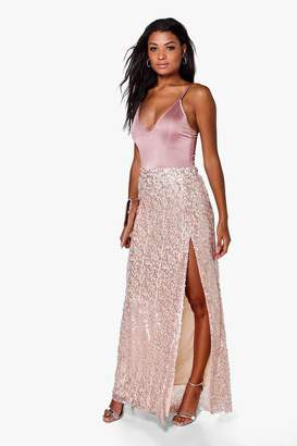 boohoo Boutique Lola Thigh Split Sequin Maxi Skirt