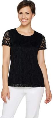 Susan Graver Liquid Knit Top with Lace Front