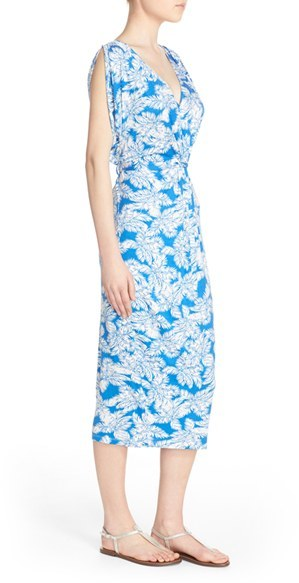 Women's Fraiche By J Shirred Print Midi Dress 4