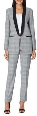 Tahari Arthur S. Levine Two-Piece Plaid Shawl Collar Pant Suit