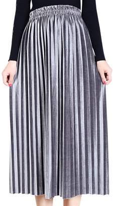 Aivtalk Women's Vintage Velvet Maxi Dress for Daily Wear Lightweight Solid Soft Elastic High Waist A-Line Pleated Skirts Size XL