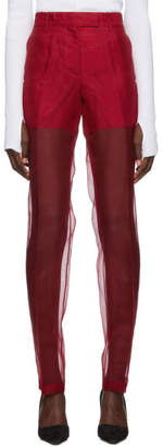 Helmut Lang Red Straight Organza Trousers