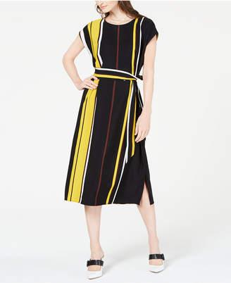 Alfani Striped Tie-Waist Midi Dress