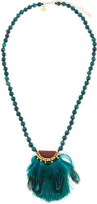 Panacea Beaded Feather Pendant Necklace