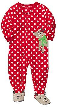 Carter's Carter's® Dotty Microfleece Footed Pajamas w/ Reindeer - Girls 12m-24m