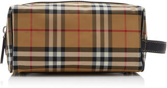Burberry Leather-Trimmed Checked Canvas Toiletry Case