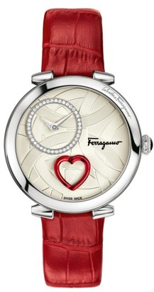 Women's Salvatore Ferragamo Cuore Leather Strap Watch, 39Mm $2,395 thestylecure.com