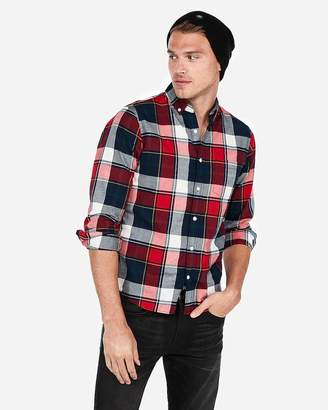 Express Slim Plaid Button-Down Collar Soft Wash Shirt