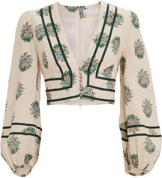 Zimmermann Verity Floral Cropped Blouse