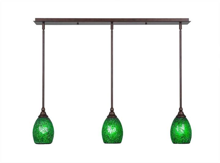 Cambridge Silversmiths Cambridge 3-Light Bronze Island Pendant with Green Ribbed Glass