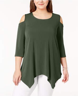 NY Collection Plus Size Cold-Shoulder Tunic
