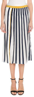 Victoria Beckham Victoria Vertical-Stripe Pleated Midi Skirt