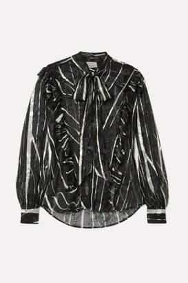 Preen by Thornton Bregazzi Florrie Ruffled Devoré Silk-blend Chiffon Blouse - Black