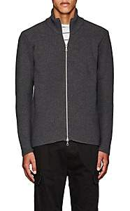 Officine Generale MEN'S WOOL MOCK-NECK CARDIGAN-GRAY SIZE L