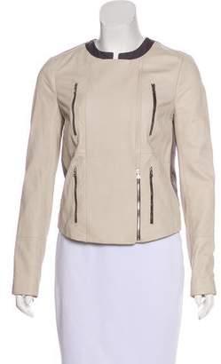 J Brand Leather Zip-Up Jacket