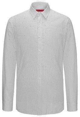 HUGO Boss Triangle-Print Cotton Sport Shirt, Extra Slim Fit Elisha M Open White