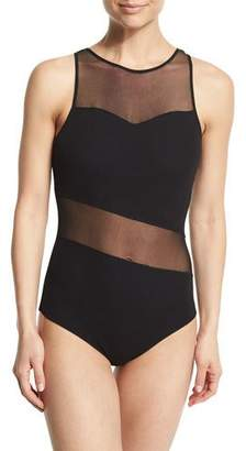 Fuzzi Mesh-Inset One-Piece Swimsuit $320 thestylecure.com