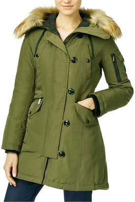 MICHAEL Michael Kors Hooded Faux-Fur-Trim Asymmetrical Down Parka Coat