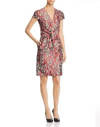 Paule Ka Tie-Detail Floral Jacquard Dress