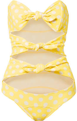 Lisa Marie Fernandez Triple Poppy Knotted Polka-dot Stretch-crepe Swimsuit - Pastel yellow