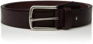 """Tommy Hilfiger Men's 1.3"""" Wide 100% Leather Argyle Embossed Belt"""