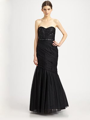 Monique Lhuillier Strapless Gown