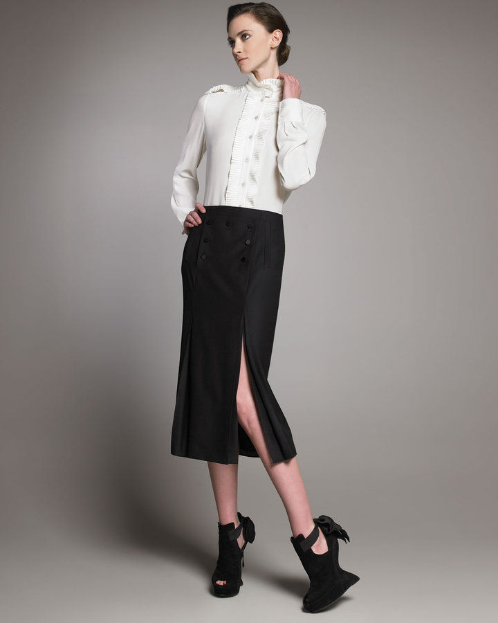Alexander McQueen Double-Slit Sailor Skirt