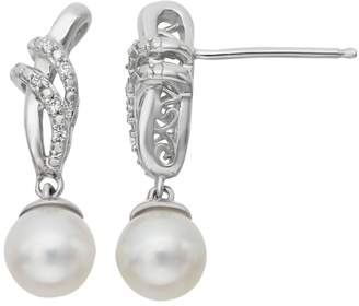 Vera Wang Simply Vera Sterling Silver Freshwater Cultured Pearl & Diamond Accent Drop Earrings