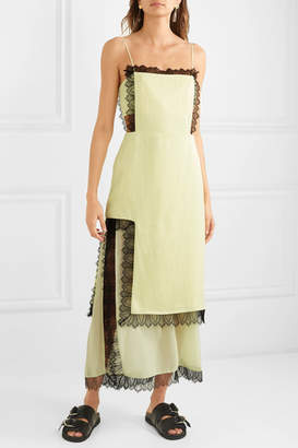 3.1 Phillip Lim Lace-trimmed Cutout Satin Maxi Dress - Pastel yellow