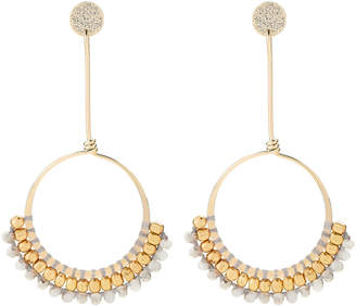 Panacea Pannee By Gold-Tone & Grey Hoop Earrings