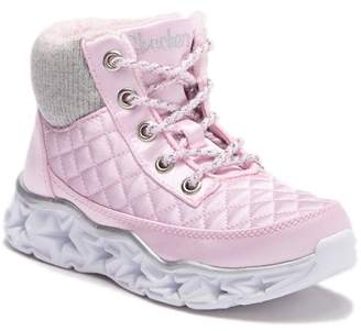 Skechers Galaxy Lights Quilted Faux Fur Lined High-Top Sneaker (Little Kid)