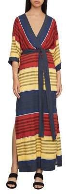 BCBGMAXAZRIA Striped Faux-Wrap Maxi Dress