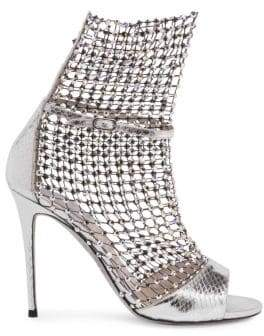 Rene Caovilla Crystal Mesh Ayers Snake Leather Open-Toe Ankle Boots