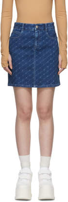 Stella McCartney Blue Denim Monogram Miniskirt