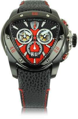 Lamborghini Tonino Black Stainless Steel Spyder Chronograph Watch w/Red Dial