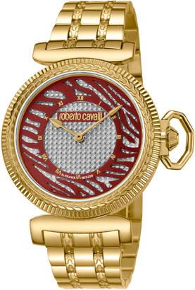 Roberto Cavalli By Franck Muller 38mm Zebra Bracelet Watch, Burgundy/Gold