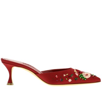 Manolo Blahnik High Heel Shoes Yolamu Mules In Satin With Beaded Embroidery