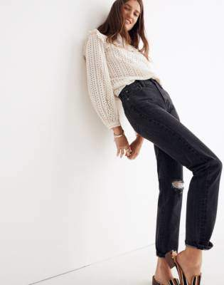 Madewell The Tall Perfect Vintage Jean in Roxstone Wash: Knee-Rip Edition