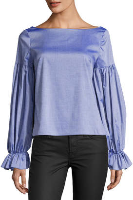 Milly Linda Long-Sleeve Cross-Dyed Italian Shirting Top