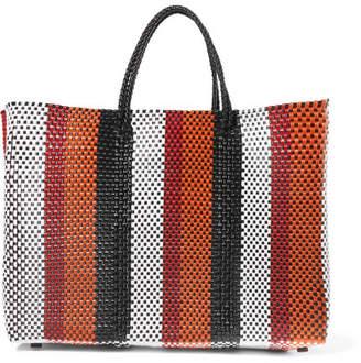Truss - Striped Woven Raffia-effect Tote - Orange