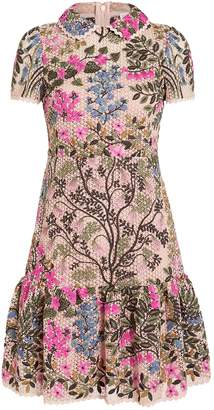 RED Valentino Floral Vines Macrame Shift Dress