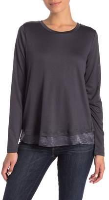 Bobeau Satin Back Bow Long Sleeve Pullover (Regular & Petite)