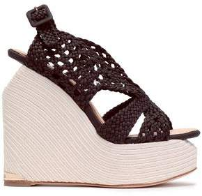 Paloma Barceló Woven Leather Platform Wedge Sandals