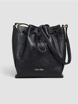 Calvin KleinCalvin Klein Womens Keyla Leather Bucket Bag Black
