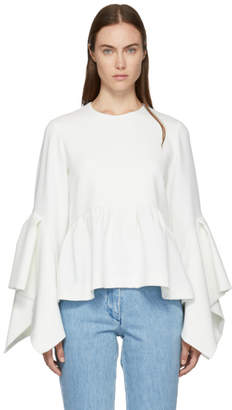 Edit White Box Pleat Peplum Blouse
