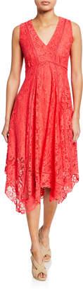 Neiman Marcus Lace Sleeveless Handkerchief Dress