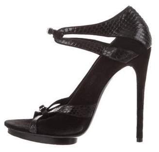 Balenciaga Suede Snakeskin-Trim Sandals