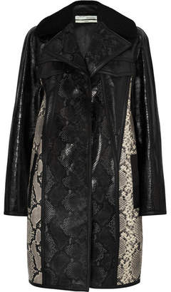 Off-White Shearling-trimmed Snake And Croc-effect Leather Coat - Black