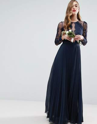ASOS WEDDING Pretty Lace Eyelash Pleated Maxi Dress $143 thestylecure.com