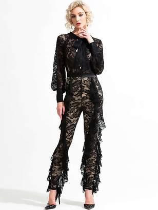 Shein Missord Tie Neck Ruffle Trim Sheer Lace Jumpsuit
